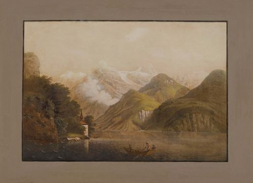 BLEULER, JOHANN LUDWIG (Feuerthalen 1792 - 1850 Laufen).Capelle Tellen Platten, at Lake Lucerne. Gouached aquatint, 32.5 x 48.5 cm. Black outer line and grey-brown gouached border. Entitled and signed lower left in brown pen: Bleuler. - Some even browning.