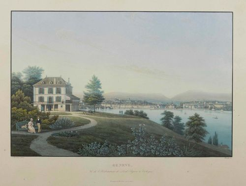 "GENEVA-Lot of two sheets.: 1.Salathé after Du Bois. Geneve et le Mont Blanc, Vue des Bergues. Circa 1835. Aquatint etching with original colour, 17.4 x 27.1 cm. Framed. Literature: Barbara et Roland de Loës ""Genève par la Gravure et l'Aquarelle"" p.371. 2. Humely after Du Bois. Circa 1835. Geneve, Vu del Habitation de Lord Byron a Cologni. Aquatint etching with original colour. 18.7 x 27.4 cm. Framed. - Each with margin around the clearly visible plate edge. No. 1 with slight even browning, some foxing in upper area of image. No. 2 in good condition."