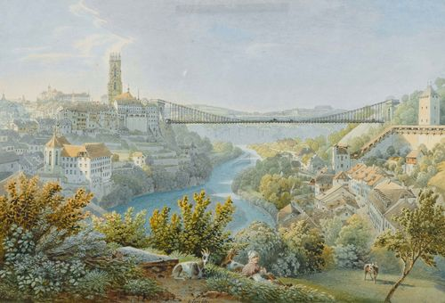 LORY, GABRIEL MATTHIAS (1784 Bern 1846).View of Fribourg with the old Zähringer bridge, circa/after 1834. Pen and watercolour. 20.2 x 29 cm. Black pen outer line. Signed centre of lower margin: G. Lory fils. Gold frame. - Verso old mount, slightly showing through on the upper margin of the image. Otherwise in very good condition.