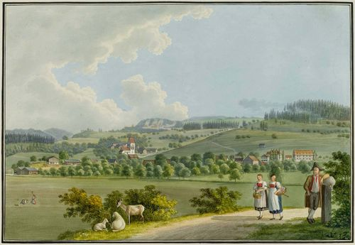 SCHMID, DAVID ALOIS (1791 Schwyz 1861).Landscape in the East of Switzerland, with two peasant girls and peasant in the foreground. Watercolour, pen and black crayon. 26.5 x 38 cm. Black pen outer line. Broad margin around the image. Margin slightly browned. Overall fine condition and fresh colour.