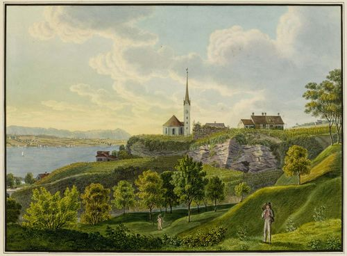 SCHMID, DAVID ALOIS (1791 Schwyz 1861).Lot of two views made as a pair: 1. Uetikon am Zürichsee mit Kirche und Weinbergen gegen Zürich gesehen. 2. Uetikon am Zürichsee mit Kirche und Weinbergen gegen die Alpen gesehen. Watercolour, black crayon, black pen. Each 26 x 39 cm. Black pen outer line. Broad margin around the images, with minor foxing. Overall very good condition with fresh colour. - Provenance: private collection Schwyz.