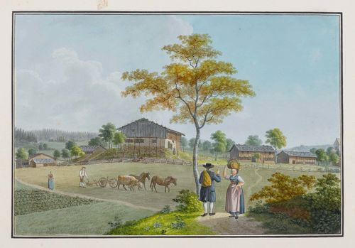 SCHMID, DAVID ALOIS (1791 Schwyz 1861).Landscape in Thurgau with farmhouses in the foreground with peasants at the plough. Watercolour, pen and black crayon. 26.5 x 39 cm. Old inscription in pencil at the bottom of the sheet: Thurgau. - Scattered tears in the broad margins, one of which reaches just up to the image. Image with minor browning in parts. Overall good condition with fresh colour.