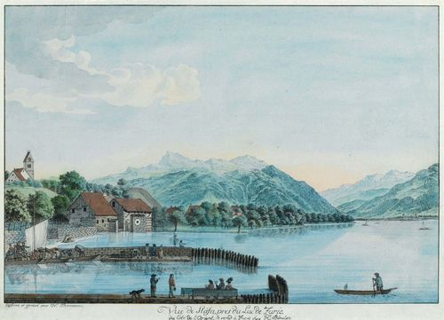 THOMANN, HEINRICH (1748 Zollikon 1794).Vue de Stäfa pres du La de Zuric, du Cot'de L'Orient. Circa 1780. Dessiné et gravé par H. Thomann. Circa 1780. Etching with original colour, 27.6 x 40.5 cm. Gold frame. - In fine fresh colour. Scattered faint creases in upper section, with some professional restorations in that area. Overall good condition. Very rare.