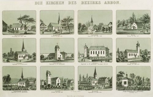 CANTON OF THURGAU -.Philipp Arlen (1849-1910) after Kaspar Boltshauser (1831-1886). Die Kirchen des Bezirks Arbon. (The churches of the Arbon district) Circa 1880. Colour lithograph, 34 x 52 cm. Gold frame. - group print with twelve partial views of the Arbon district. Very good condition. Very rare.