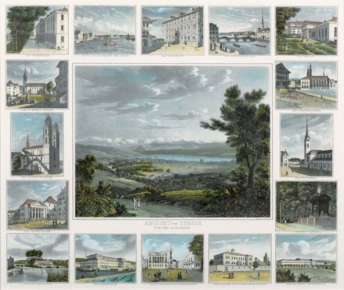 ZURICH.-Jakob Suter (1805-1874) and Paul Julius Arter (1797-1839). Zurich from the North. Circa 1835. Aquatint etching with original colour, 36 x 43.5 cm Gold frame. - Fine group print with sixteen margin images of the most important buildings of the city of Zurich. Very good condition.