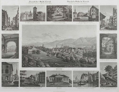ZURICH.-Johann Baptiste Isenring (1796-1860). Ansicht der Stadt Zürich und der inneren Theile derselben. Circa 1831/32. Aquatint etching, 36 x 49.5 cm. Gold frame. - Group print with twelve partial views of important buildings and locations in Zurich. Some minor foxing, overall very fine condition.