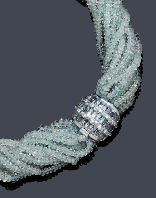 AQUAMARIN-DIAMANT-COLLIER/TORSADE.