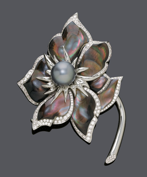 PEARL AND DIAMOND FLOWER BROOCH, BY CHAUMET.