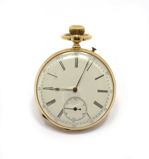 POCKET WATCH, ca. 1890. Yellow gold 750, 80g. Round case No. 19486 with engine-turned back. Enamelled dial with Roman numerals and gold-coloured hands, outer minute division, small second at 6h. Glass with depression, dust cover metal. Lever escapement with flat spiral and bimetallic balance, oxidized. Does not run: resinified. D 45mm. With case.