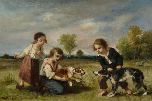 DIAZ DE LA PEÑA, NARCISSE (Bordeaux 1807 - 1876 Menton) Children at play with dogs. Oil on canvas. Signed lower left: n. Diaz. 24.3 x 35 cm. Provenance: - Collection Collot, acquired from the artist. - Auction Paris 29.05.1852, No. 23, Collection of  Collot. - Galerie Desforges, Paris. - Collection of  Admiral Benjamin Jaurès. - Collection of  Mme Masson, Paris. - European private collection . Literature: Miquel, Pierre & Rolande: Narcisse Diaz de la Peña (1897-1876), catalogue raisonné de l`oeuvre peint, Paris 2006, vol. II, p. 377, No.2300 Ill.(the work is painted on canvas and not on panel as erroneously stated in the catalogue raisonné).