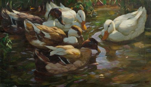 KOESTER, ALEXANDER (Bergneustadt 1864 - 1932 Munich) Five ducks in a pond. Oil on canvas. Signed lower right: A. KOESTER. 45.3 x 76.5 cm. Provenance: Private collection Switzerland.