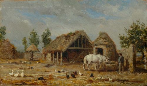 VEYRASSAT, JULES JACQUES (1828 Paris 1893) Farmyard with animals in the foreground. Oil on panel. Signed lower right: J. Veyrassat. 9 x 15 cm. Provenance: European private collection .