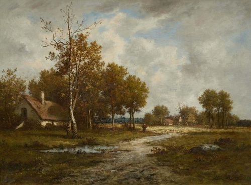 RICHET, LÉON (Solesmes 1847 - 1907 Paris) Broad landscape with a figure. Oil on canvas. Signed lower right: Léon Richet. 66.5 x 89.4 cm. Expertise: Michel Rodrigue, 2.1.2014.