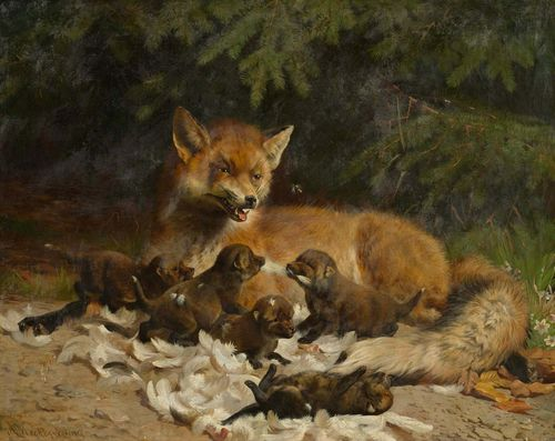 MACKEPRANG, ADOLF HEINRICH (Langeso 1833 - 1911 Copenhagen) Fox mother with her pups at the forest edge. Oil on canvas. Signed lower left: A. Mackeprang. 78 x 97 cm. Provenance: European private collection .
