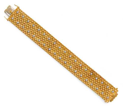 GOLD AND DIAMOND BRACELET, ca. 1950.