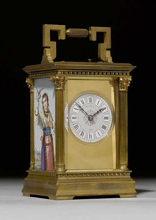 TRAVEL ALARM CLOCK WITH PORCELAIN PLAQUES,