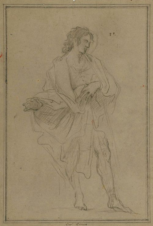 CONCA, SEBASTIANO (Gaeta 1676/80 - 1764 Naples) Study for a standing saint. Black chalk on greyish laid paper. Inscribed centre bottom in brown pen: Cav. Conca. Verso old collector's number in brown pen: 5 N.39. 36.4 x 24.4 cm.