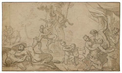 ITALIAN SCHOOL, 17TH CENTURY Park with Satyrs and Nymphs carousing. Black pen over chalk preparatory drawing, with grey wash. Old attribution lower left: Tintoretto 23.6 x 39.5 cm.