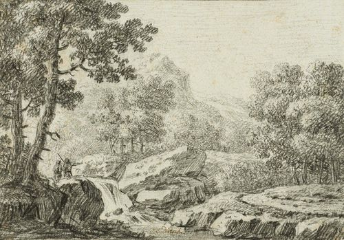 DIETZSCH, JOHANN CHRISTOPH (1710 Nuremberg 1769) Landscape with hunters by a stream. Black chalk. Signed in brown pen centre bottom in the image: J.C.Dietzsch. Old mount. 20.8 x 29.5 cm. Provenance: - Collection of Achille Rhyner, Basel, not in Lugt