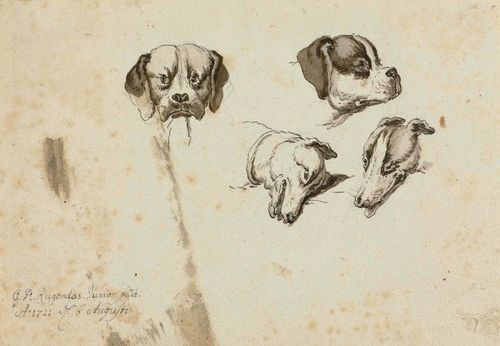 RUGENDAS, GEORG PHILIP II (1701 Augsburg 1774) Two study sheets with dogs' heads, 1721. Pen and brush in black and grey. Each signed, inscribed and dated on left margin in grey pen: G.P.Rugendas.fecit Junior A:1721 d. 6.Augusti. 14 x 19 cm and 15 x 21 cm.