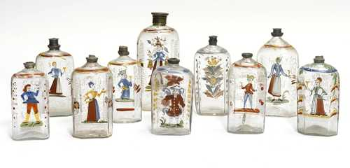LOT OF 10 'FLÜELI' GLASS BOTTLES WITH ENAMEL PAINTING,