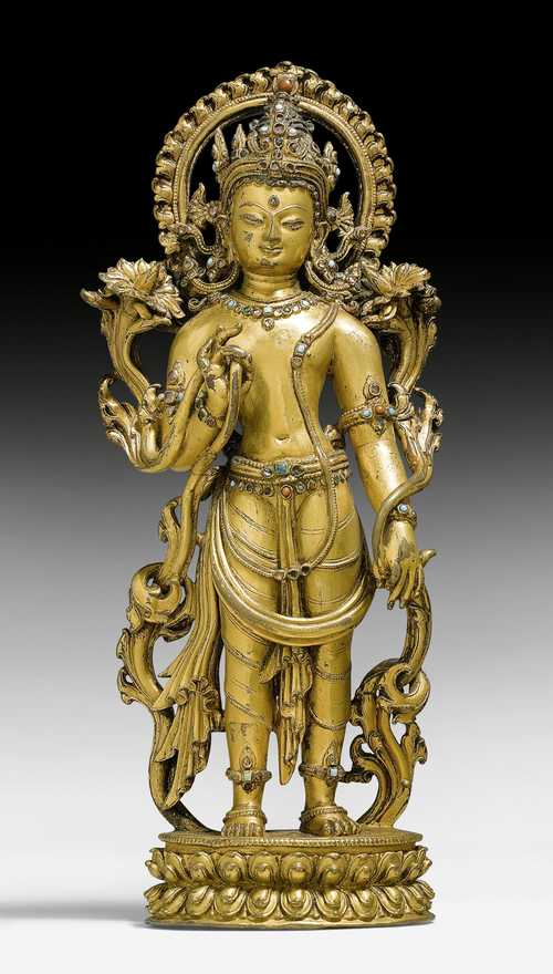 A MAGNIFICENT GILT COPPER ALLOY FIGURE OF A STANDING BODHISATTVA.