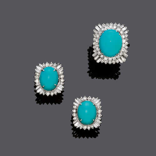 TURQUOISE AND DIAMOND EARCLIPS AND RING, ca. 1960.