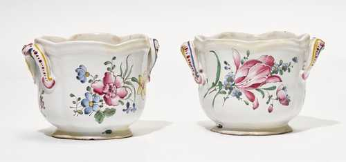 TWO SMALL FAIENCE BOTTLE COOLERS 'FLEURS CHATIRONNÉES',