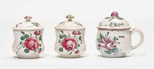 LOT OF THREE FAIENCE POTS AND COVERS, 'POTS À JUS',