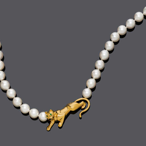 PEARL AND GOLD NECKLACE, BY CARTIER.