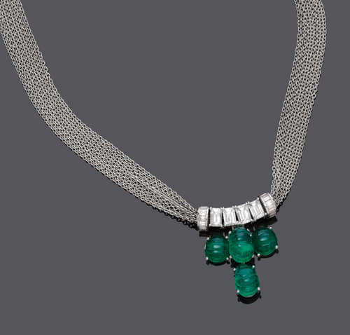EMERALD AND DIAMOND NECKLACE, BY BINDER.