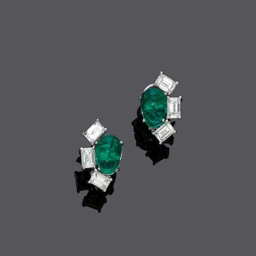EMERALD AND DIAMOND EARCLIPS, BY BINDER.