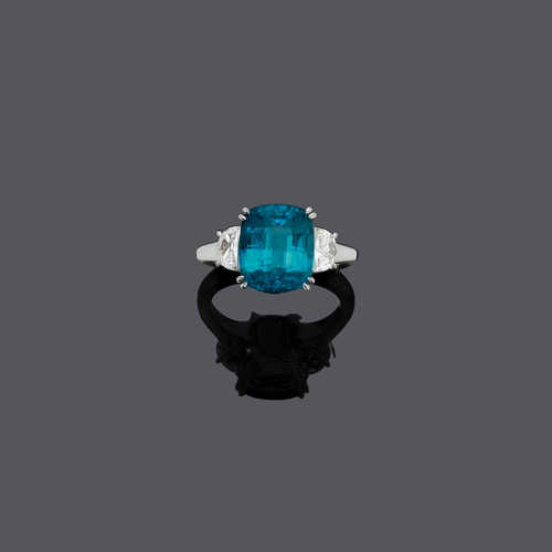 INDIGOLITE AND DIAMOND RING.