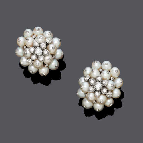 PEARL AND DIAMOND FLOWER EARCLIPS, ca. 1970.