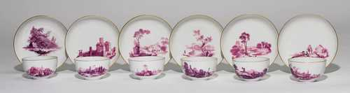 A SET OF 6 CUPS AND SAUCERS, LANDSCAPE DECORATION IN PURPUR CAMAÏEU,