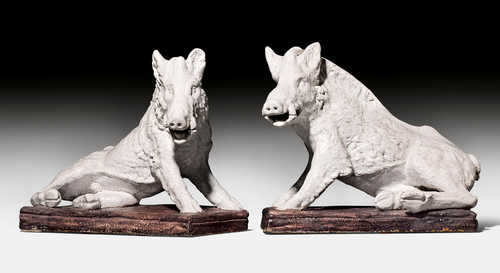 PAIR OF FAIENCE WILD BOARS AFTER A MODEL FROM ANTIQUITY, 'IL PORCELLINO',