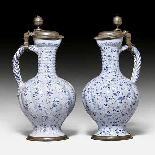 PAIR OF FAIENCE PITCHERS,