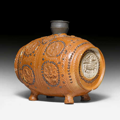 SMALL EARTHENWARE BARREL,