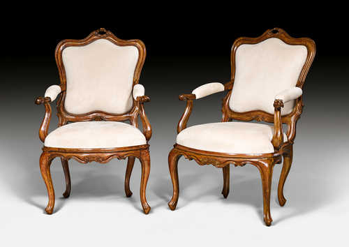 PAIR OF ARM-CHAIRS,