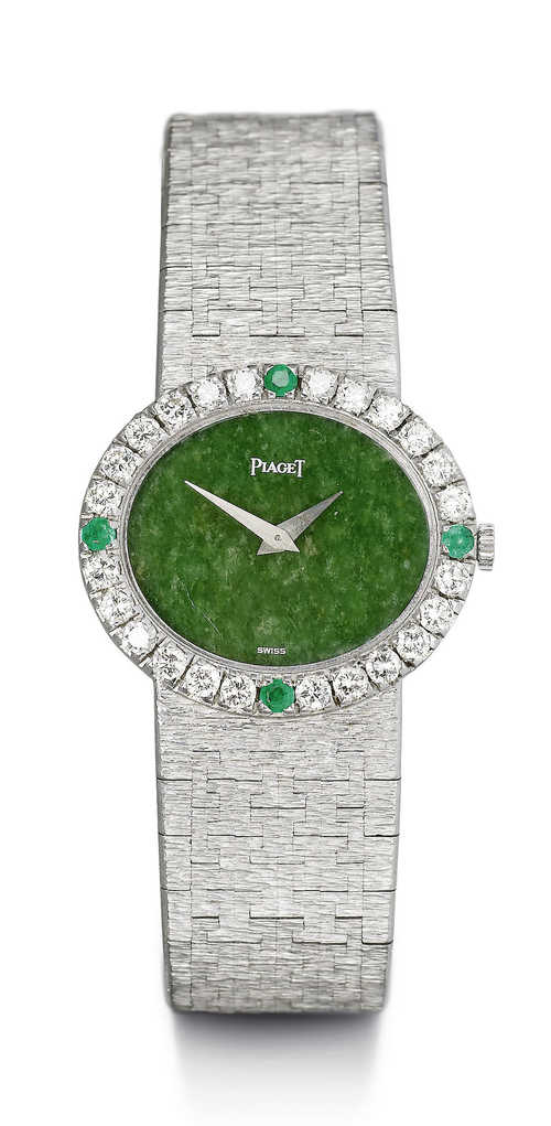 Diamond and emerald Piaget watch, 1970s.