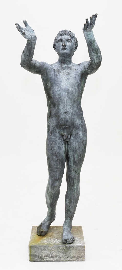 LARGE GARDEN FIGURE OF A YOUNG BOY,