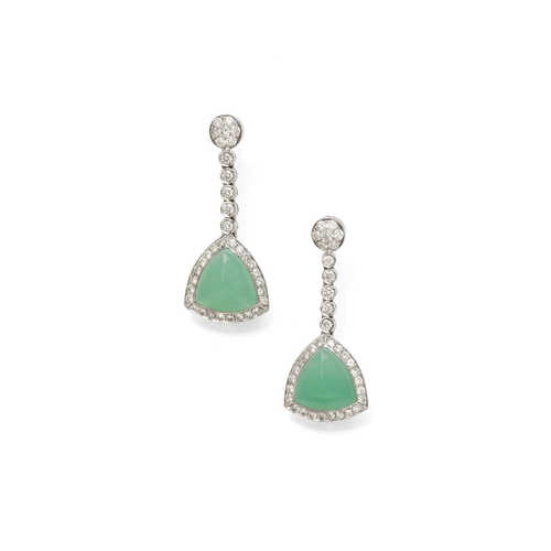 CHRYSOPRASE AND DIAMOND EARRINGS.