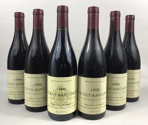 "5 bts Volnay Domaine Y.Clerget ""Volnay-Santenots"" 1998; 1 bt Volnay Domaine Y.Clerget ""Volnay-Santenots"" 1999"
