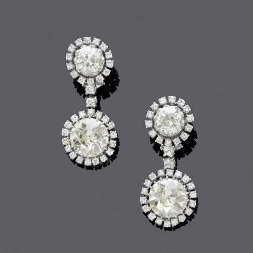 DIAMOND EAR PENDANTS, ca. 1960.
