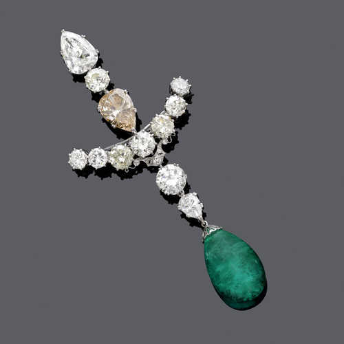 EMERALD AND FANCY DIAMOND CORSAGE BROOCH, ca. 1950.