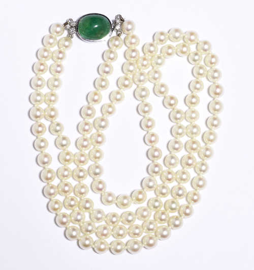PEARL, EMERALD AND DIAMOND NECKLACE.