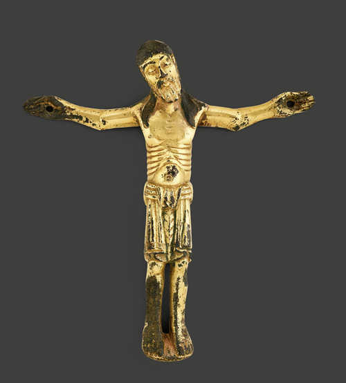 RARE GILT BRONZE OF A CRUCIFIX,