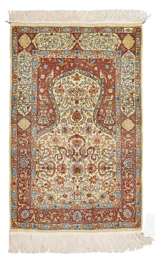 HEREKE SILK, PRAYER RUG