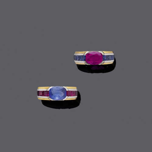 PAIR OF RUBY / SAPPHIRE AND GOLD RINGS.