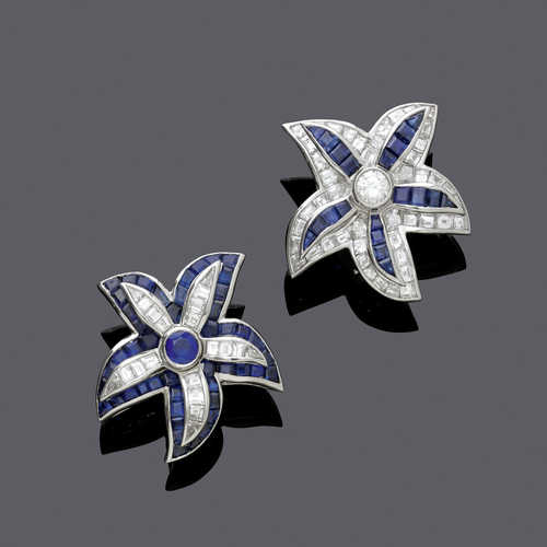 SAPPHIRE AND DIAMOND EARCLIPS, BY HARRY WINSTON.